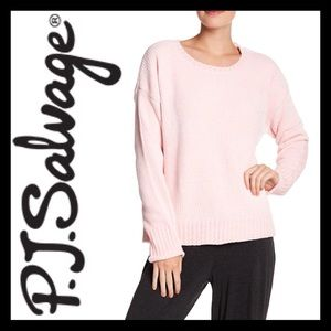 PJ SALVAGE Ribbed Knit Chenille Pullover Pink.